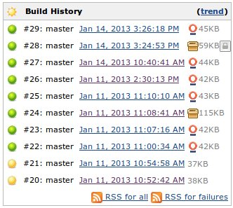 NodeJS Jekins build history